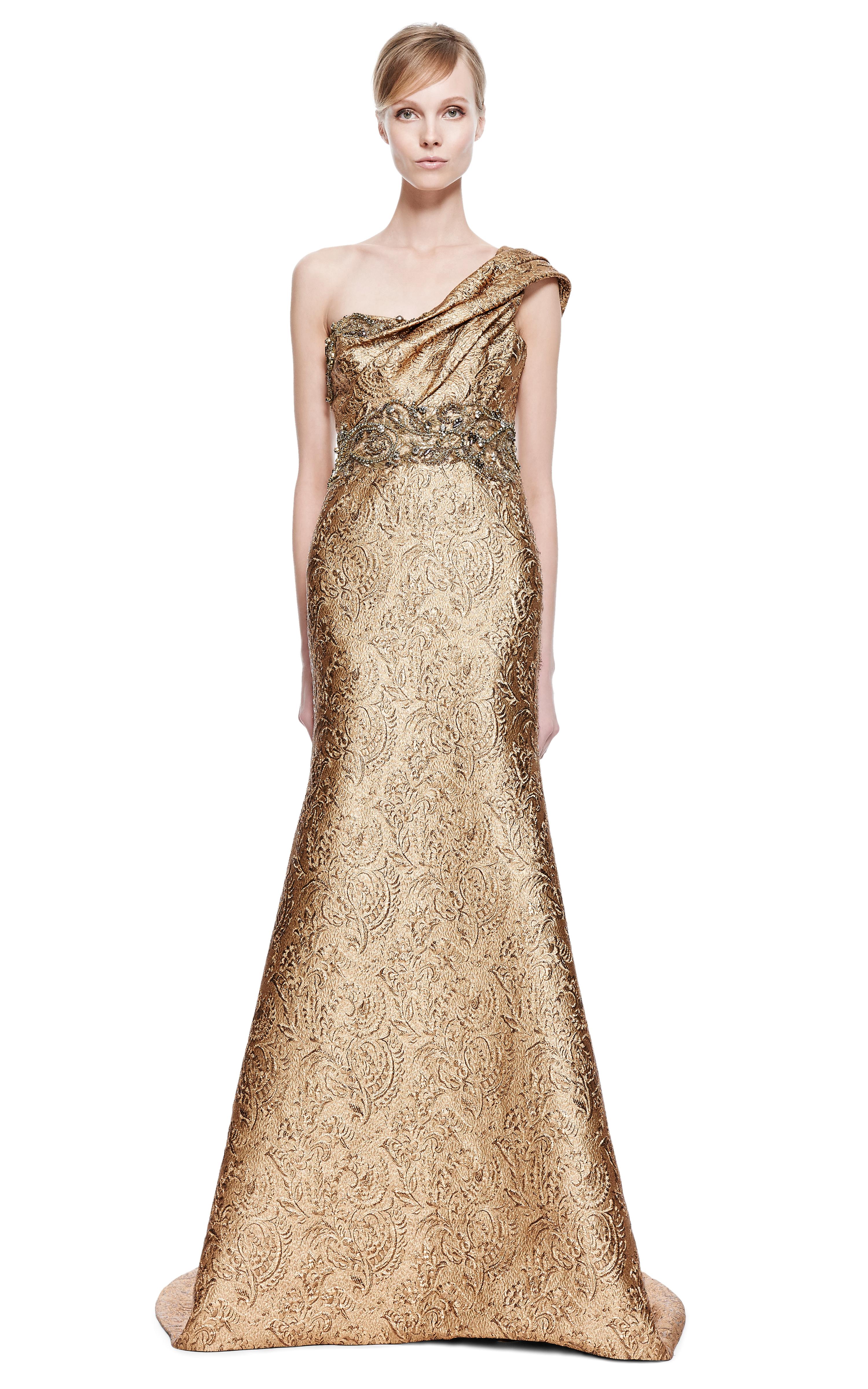One Shoulder Metallic Gown Marchesa QRTA6YRHHk