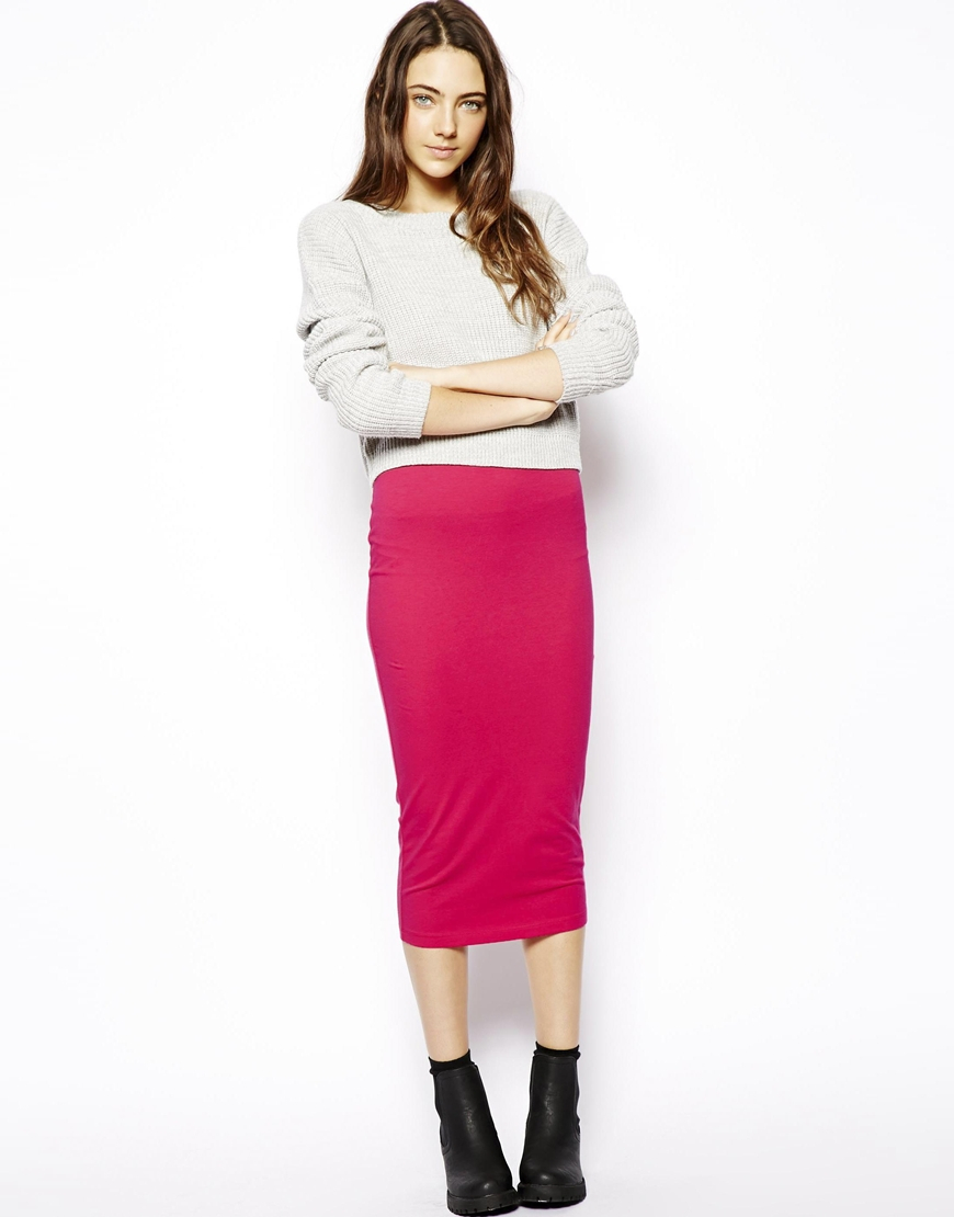Asos Midi Pencil Skirt in Jersey in Pink | Lyst