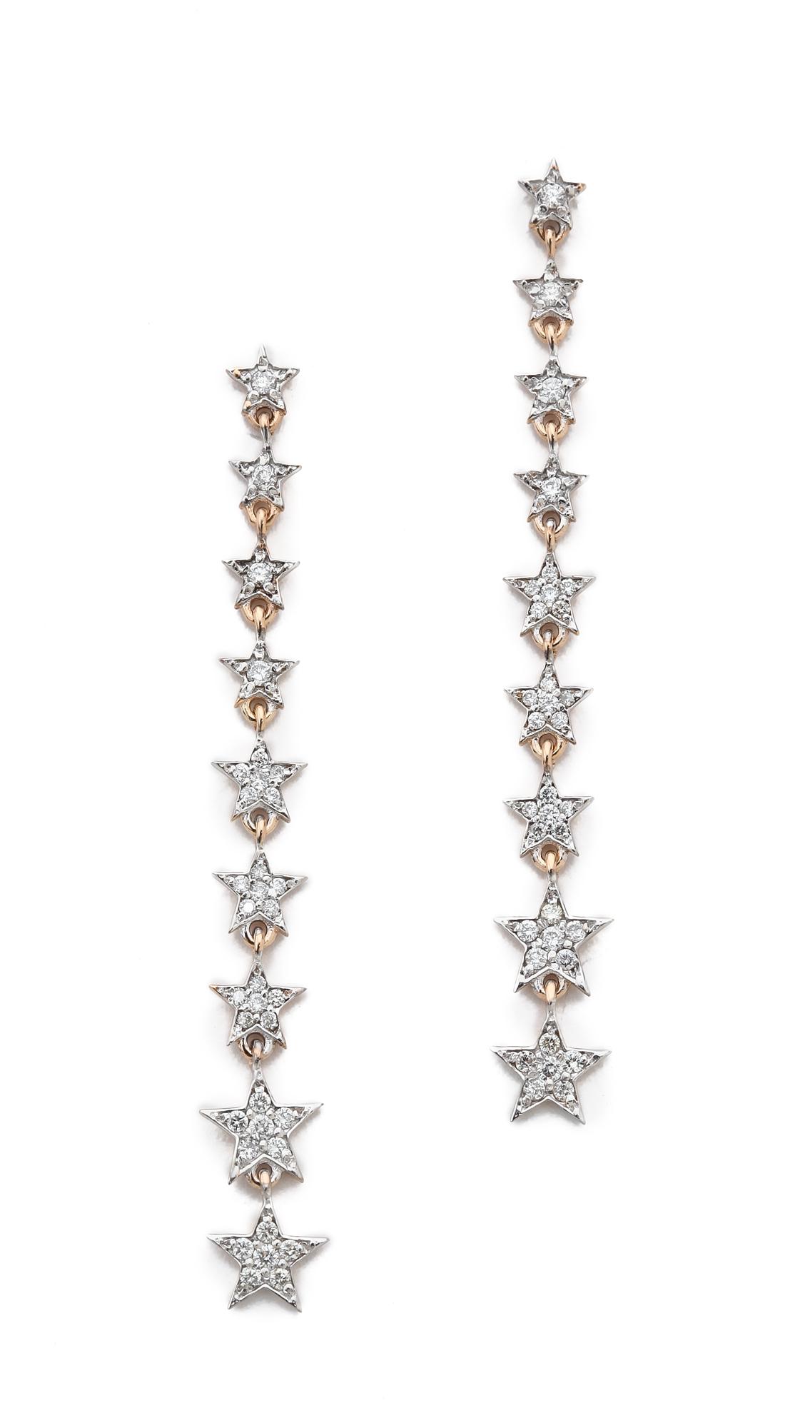 Kismet By Milka Heroine Long Star Earrings White Diamond