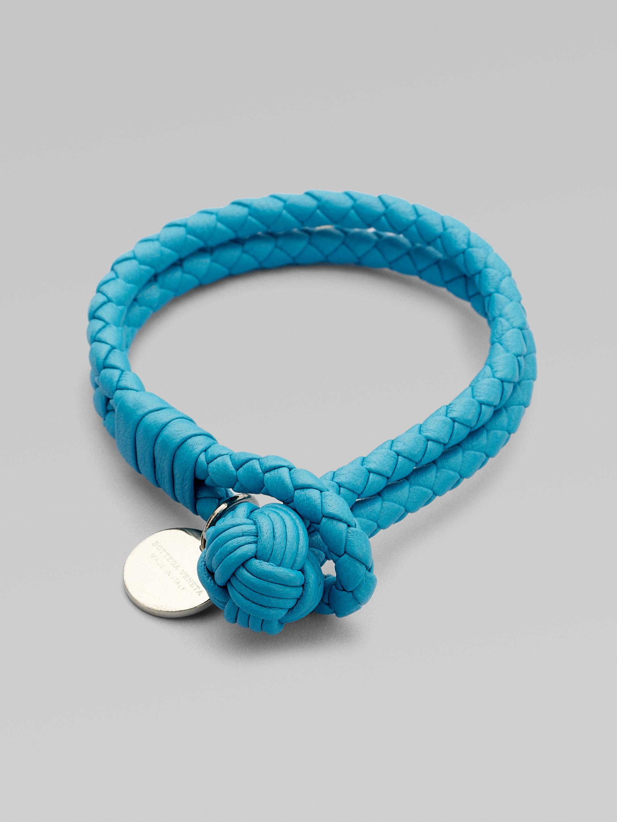 bottega veneta woven leather bracelet in blue turquoise