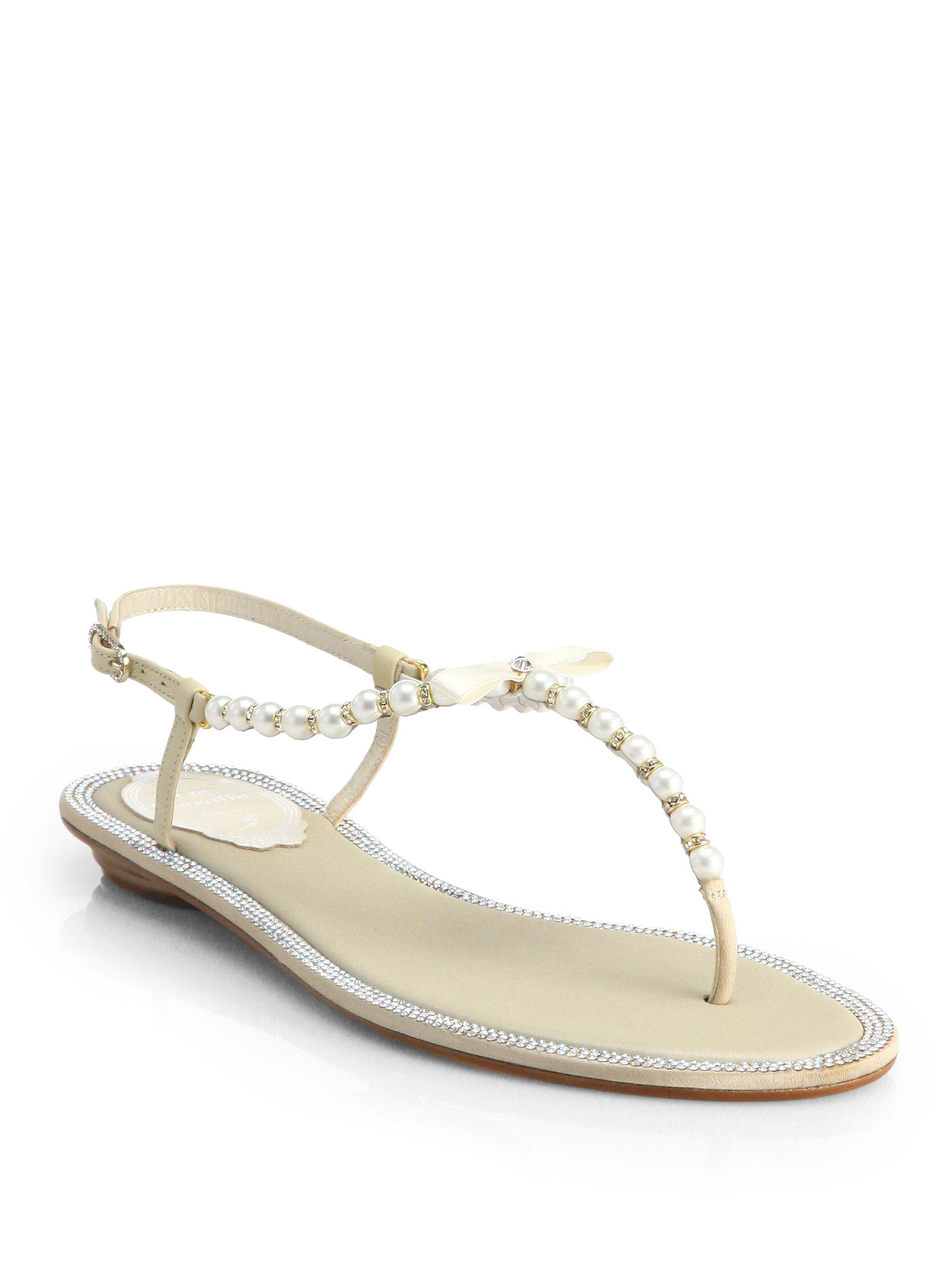 René Caovilla Faux-Pearl Embellished Sandals free shipping choice Yu4wF