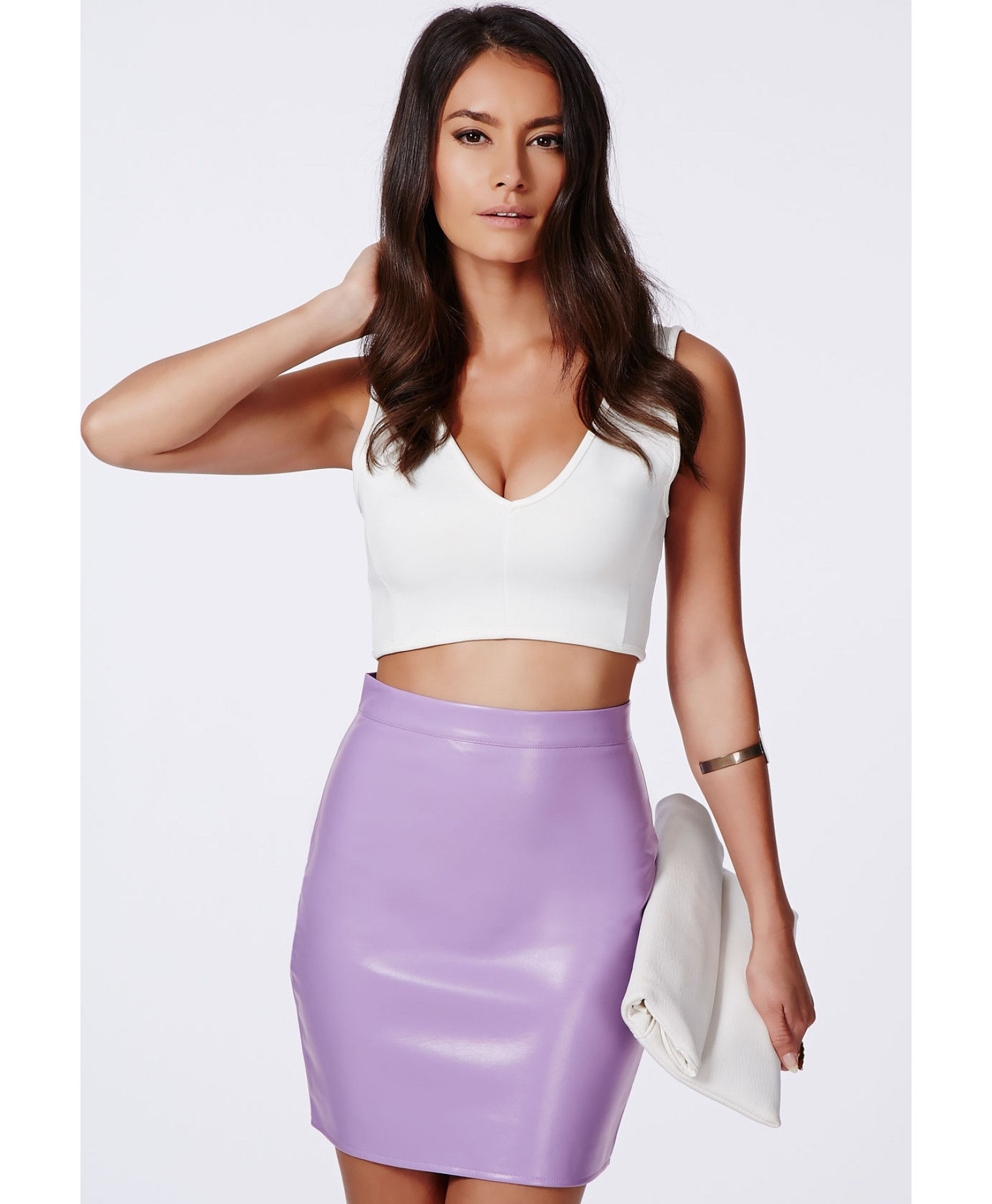 Missguided Rica Faux Leather Bodycon Mini Skirt In Lilac in Purple ...