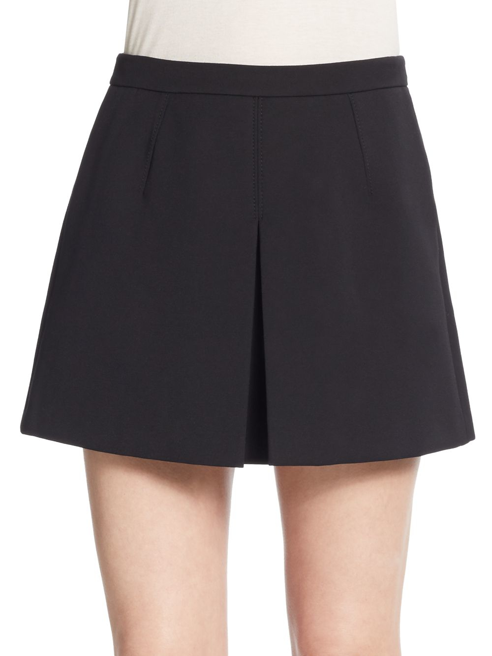 vince inverted pleat skirt in black lyst