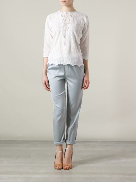 Vanessa Bruno Albane Embroidered Blouse In White Lyst