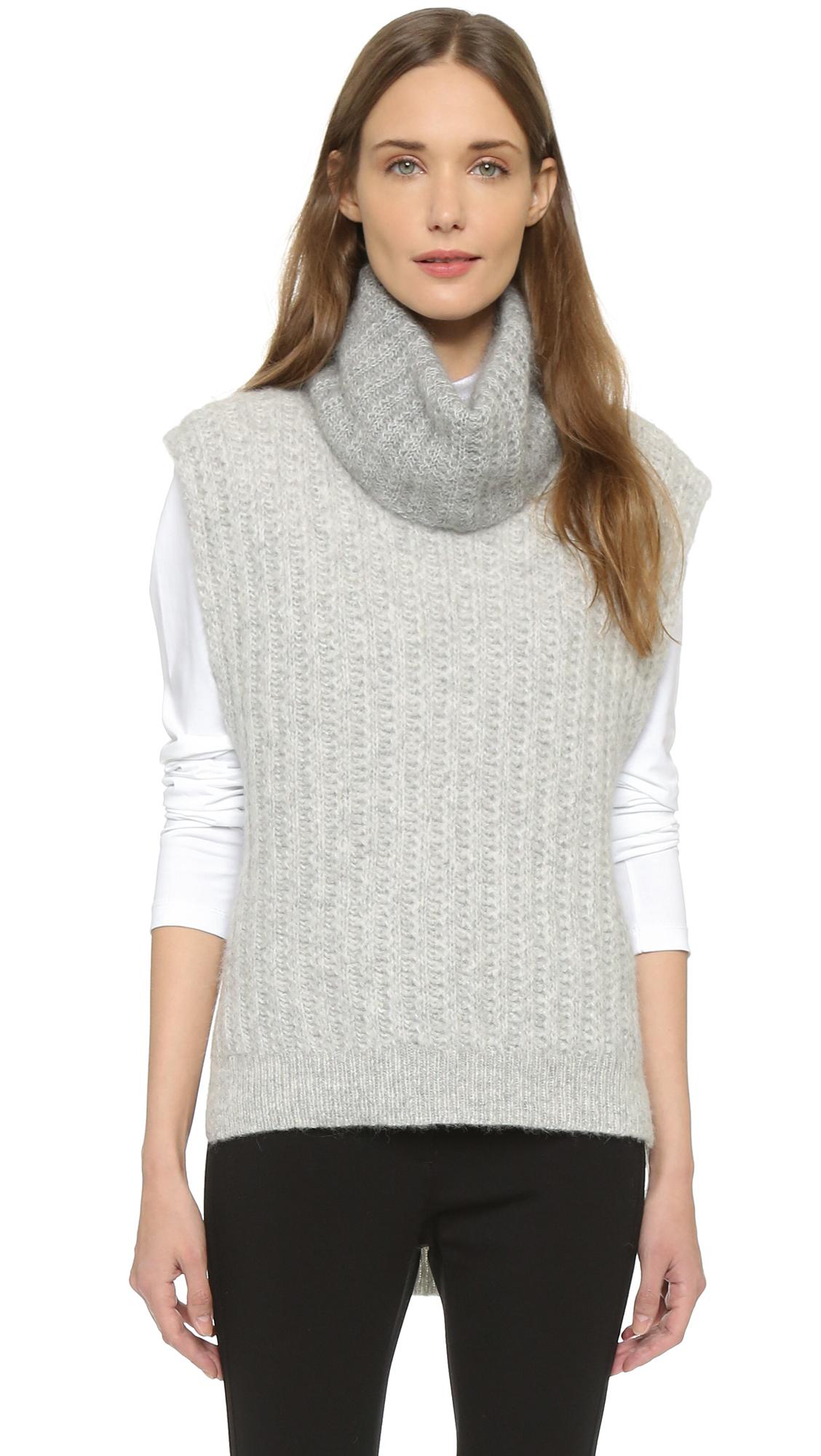 3.1 phillip lim Turtleneck Sweater Vest in Gray | Lyst