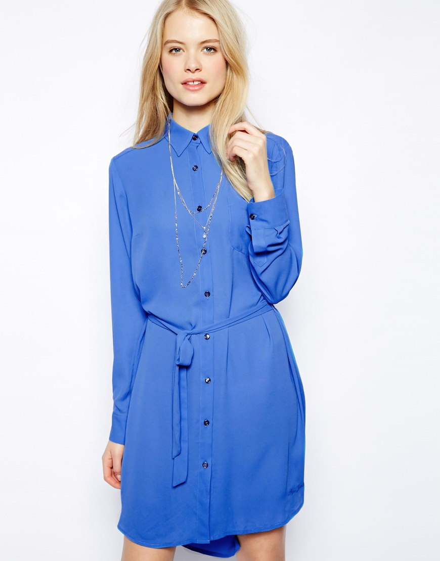 Pepe jeans Shirt Dress with Waist Tie in Blue | Lyst