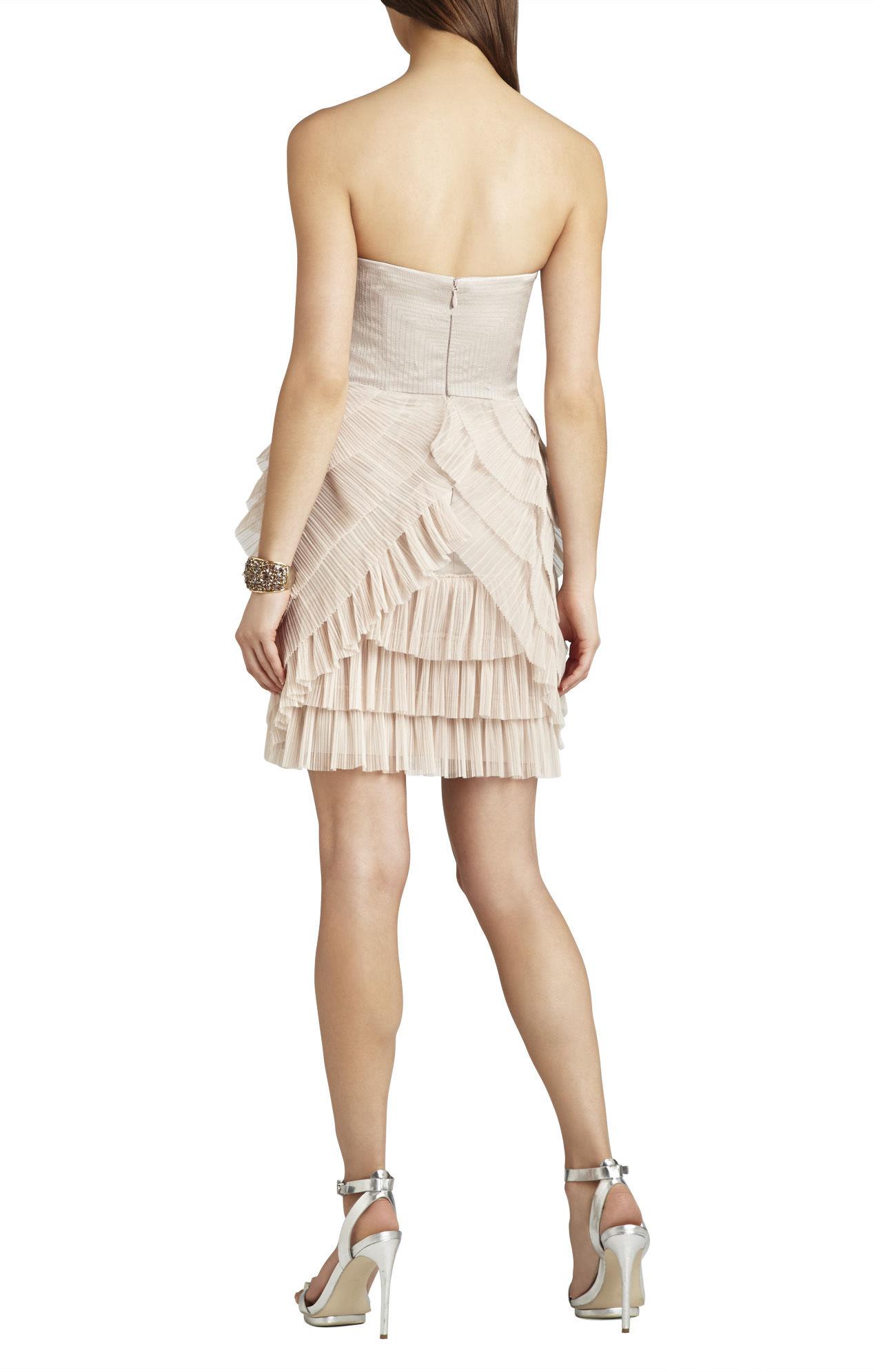 bcbgmaxazria sas strapless pleated skirt dress in pink lyst