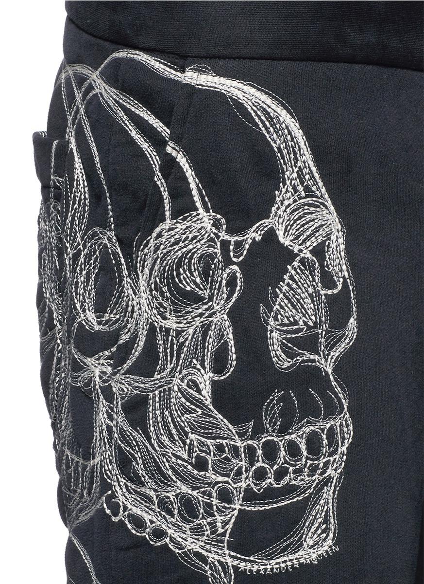 Alexander Mcqueen Skull Sketch Embroidery Jogging Pants In