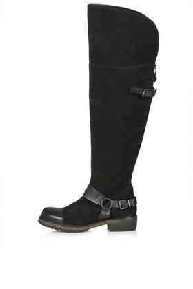 TOPSHOP Bass Line Biker Boots By Cjg in Black