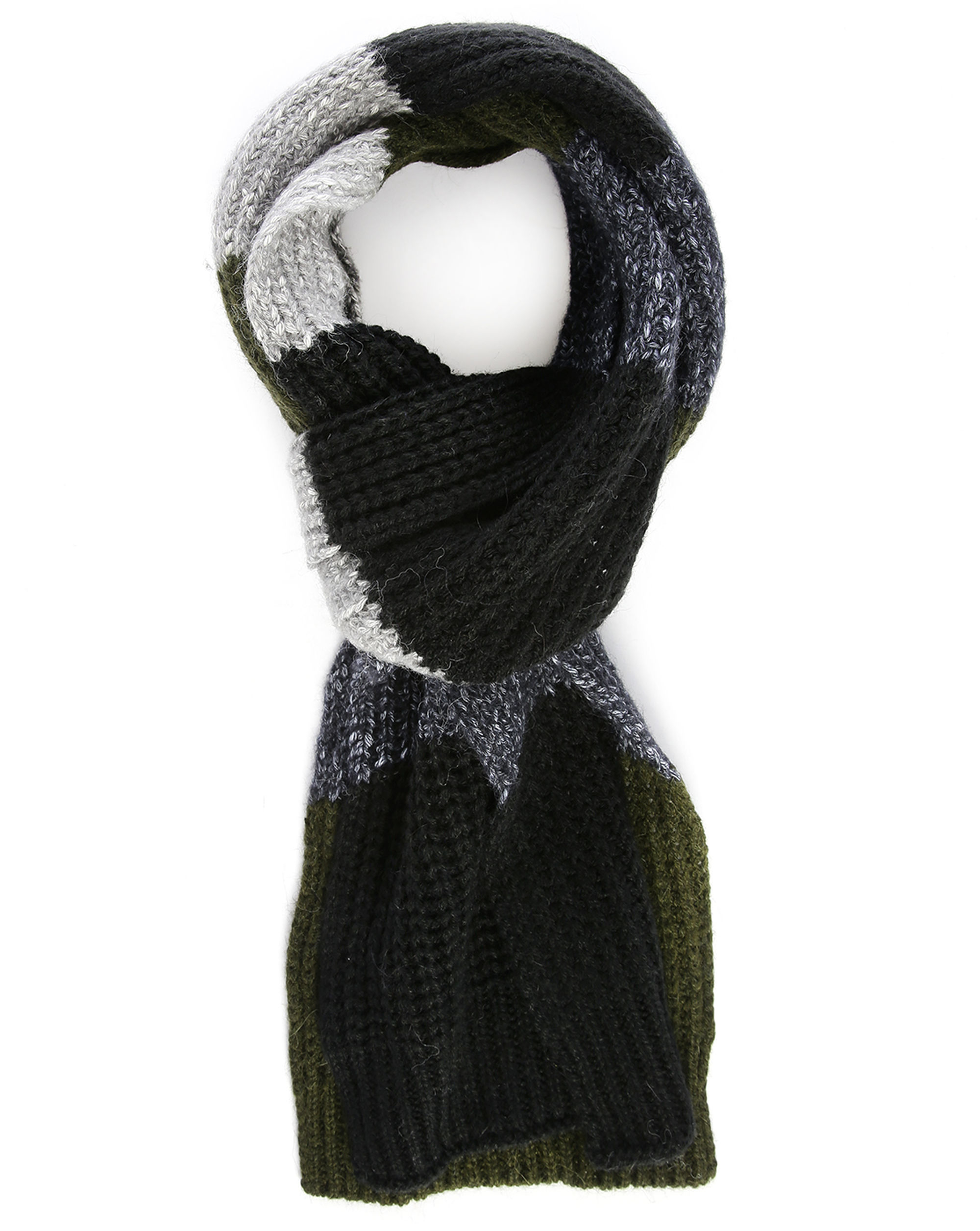 closed charcoal large stripes scarf in black for lyst