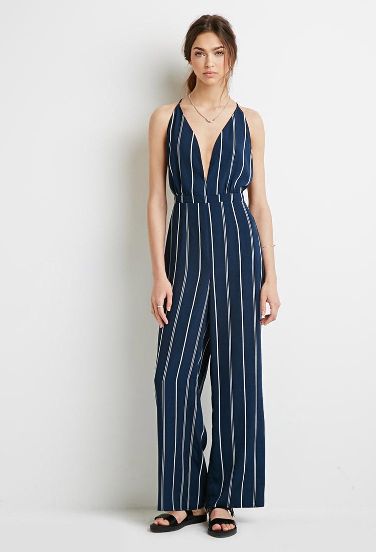 Forever 21 Striped Halter Jumpsuit In Blue Lyst