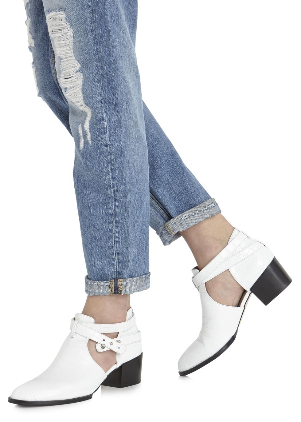 Senso Qimat White Crocodile Effect Ankle Boots