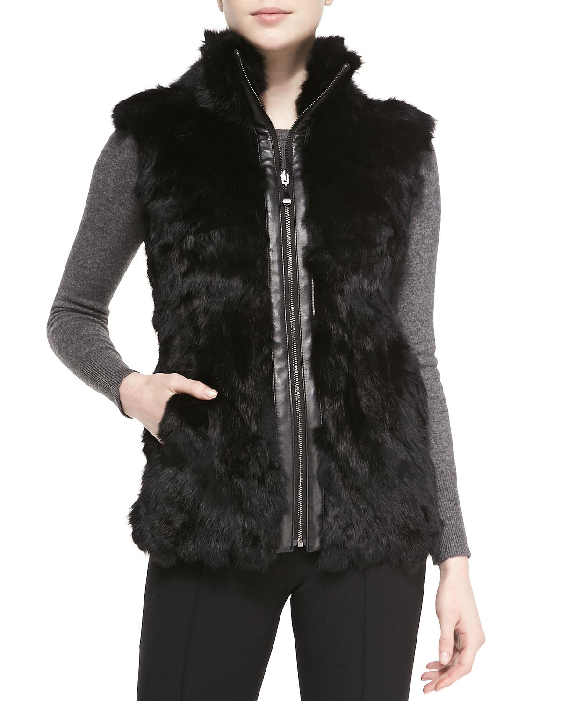 Belle Fare Reversible Rabbit Fur Vest In Black Gray Lyst