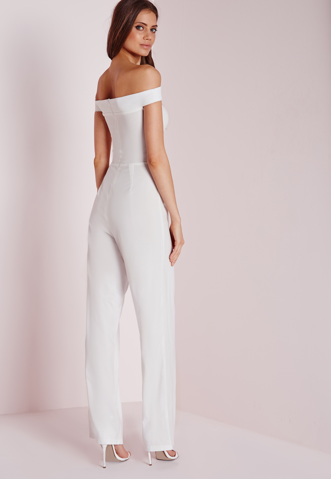 d086b1ee9ed Lyst - Missguided Strappy Bardot Jumpsuit White in White