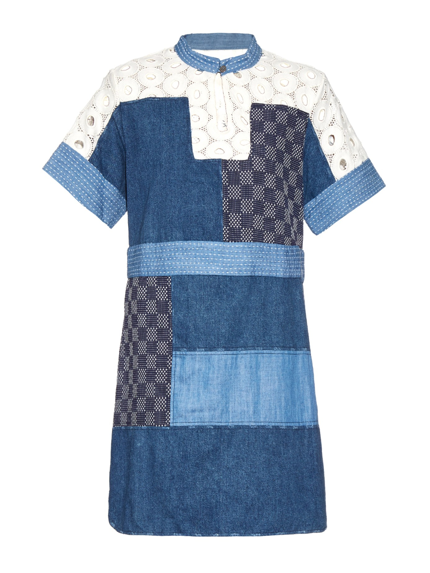 Patchwork Denim And Lace Dress