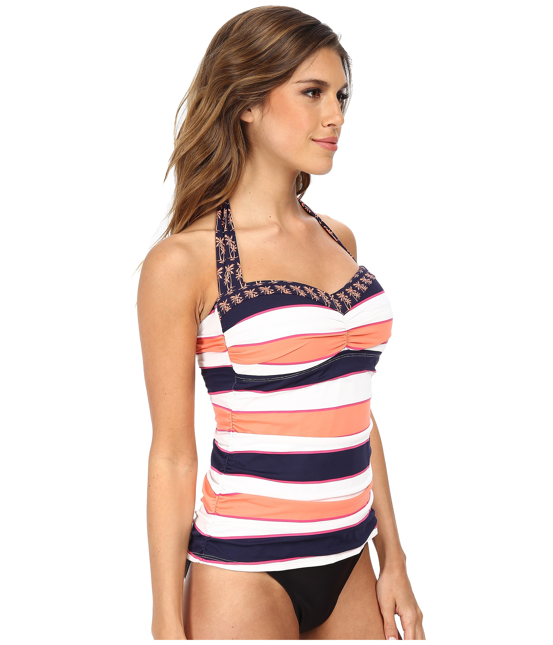 2b36f5274f504 Tommy Bahama Rugby Palm Halter Shirred Front Long Tankini in Pink - Lyst