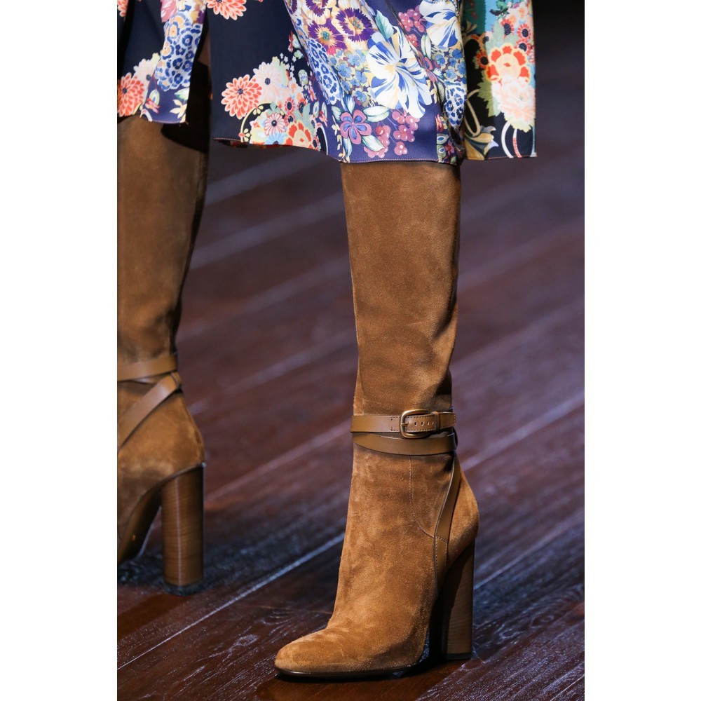 Gucci Suede Knee Boots in Brown - Lyst