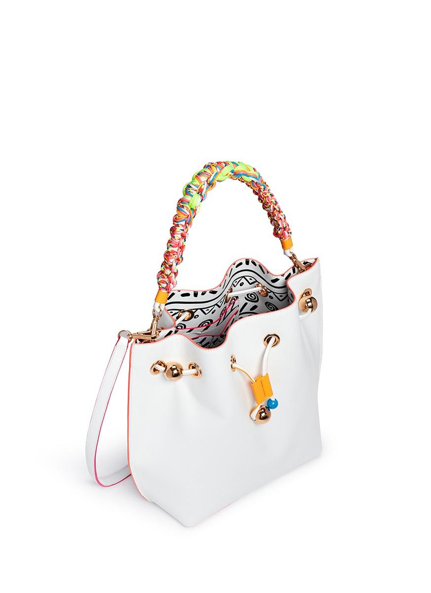 Sophia Webster Romy Braided Handle Leather Bucket Bag In