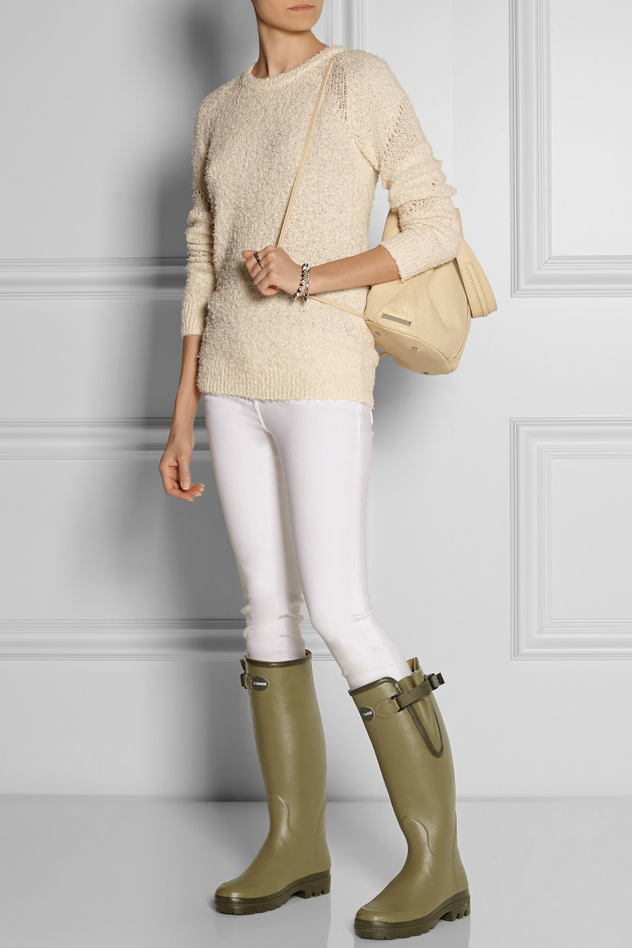 Le Chameau Vierzon Leather Lined Rubber Boots In Green Lyst