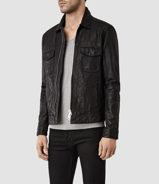 c5faa8ccc AllSaints Black Morson Leather Jacket for men