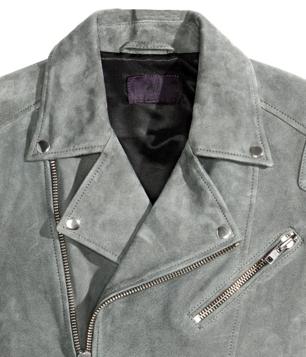 H Amp M Suede Biker Jacket In Gray For Men Lyst