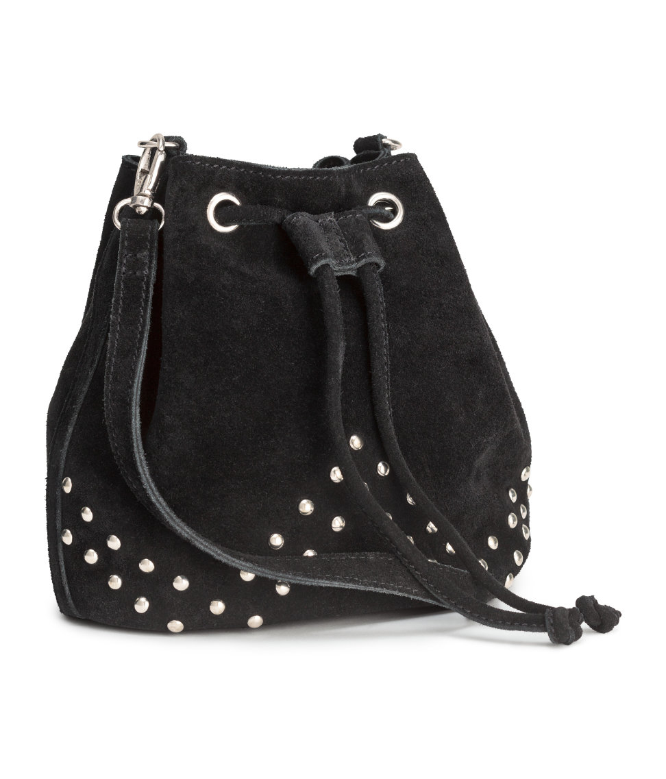 Lyst H Amp M Small Suede Bucket Bag In Black