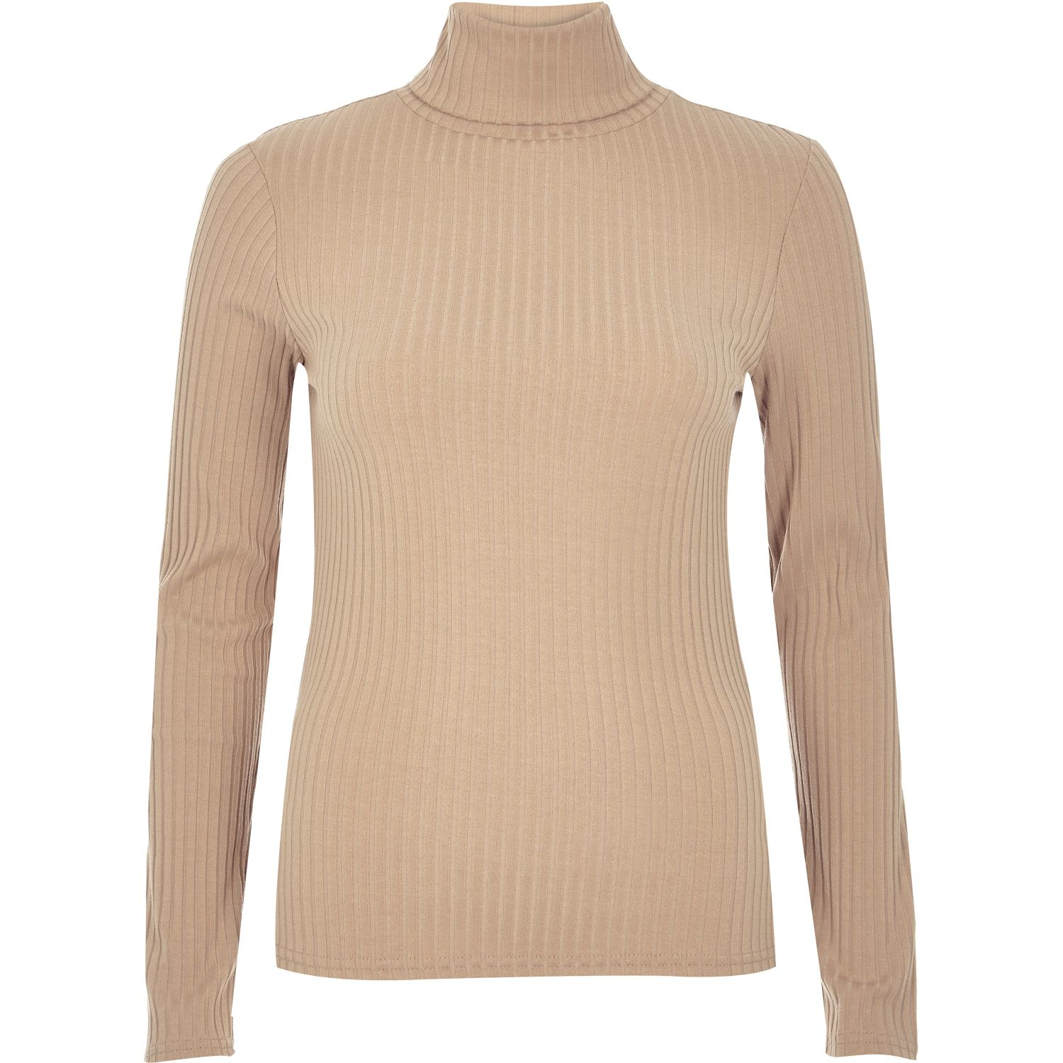 3780f4009d5 River Island Light Brown Ribbed Roll Neck Top - Lyst
