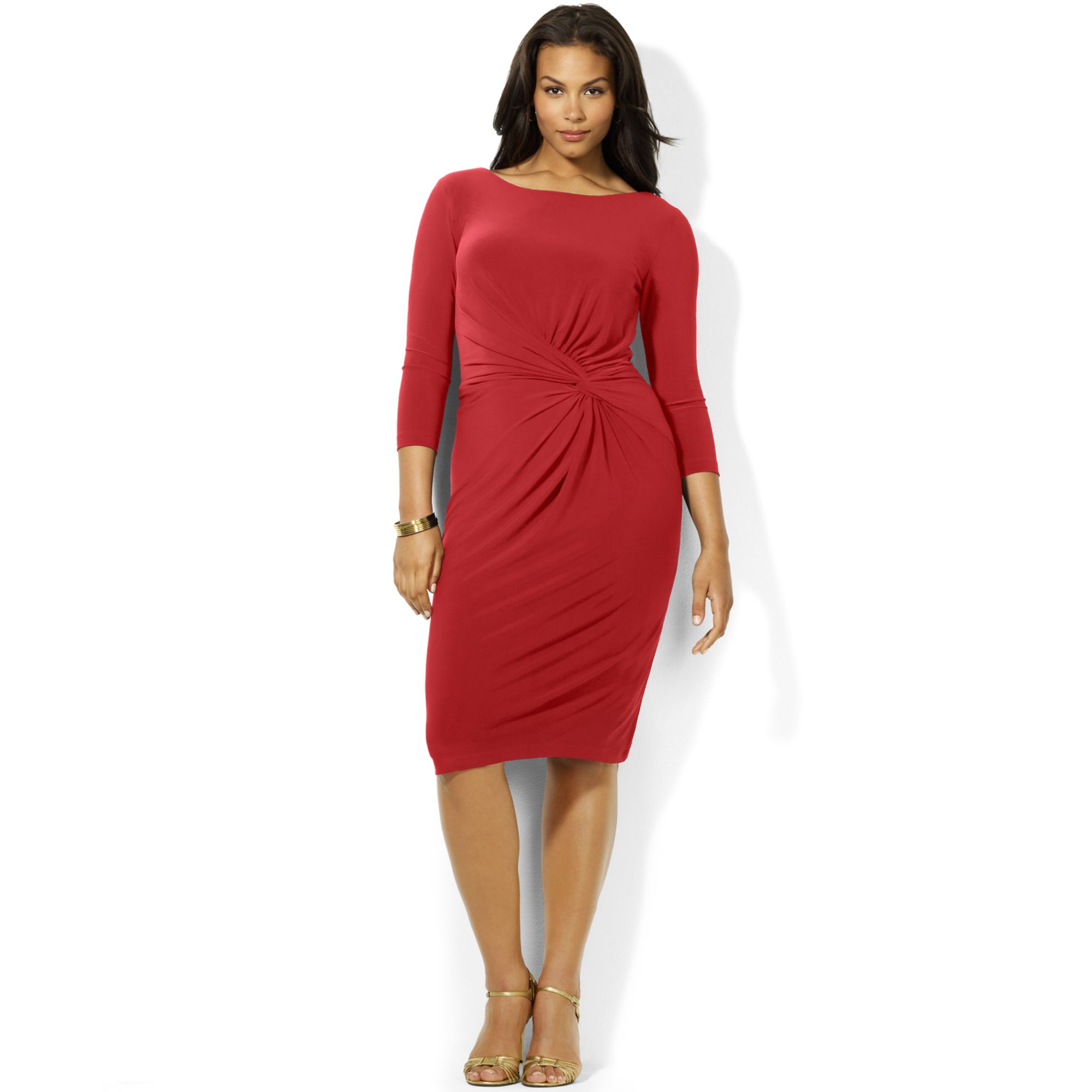 Plus Size Threequartersleeve Sideknot Dress