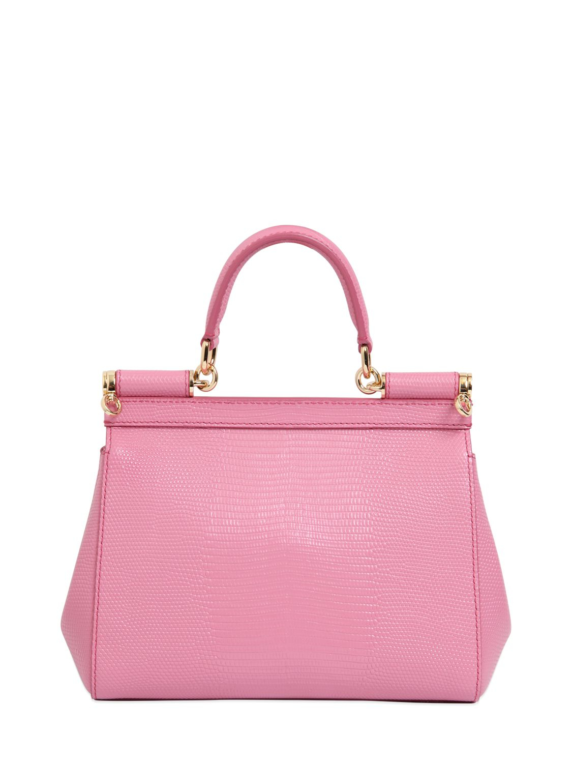 Lyst - Dolce   Gabbana Small Sicily Iguana Embossed Leather Bag in Pink 0a750f6724