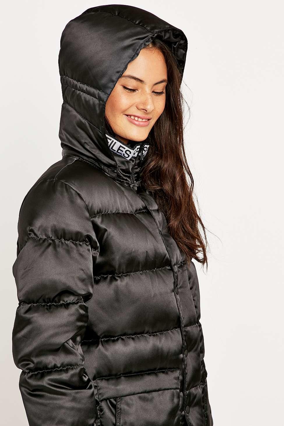 Vfiles Satin Puffer Long Line Coat In Black Lyst