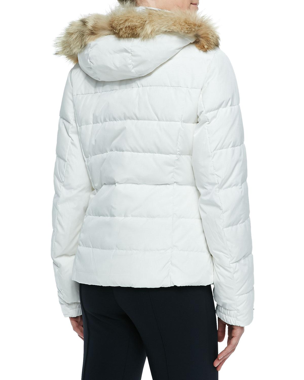 bogner sale puffer fur trim hooded jacket in white natural lyst. Black Bedroom Furniture Sets. Home Design Ideas