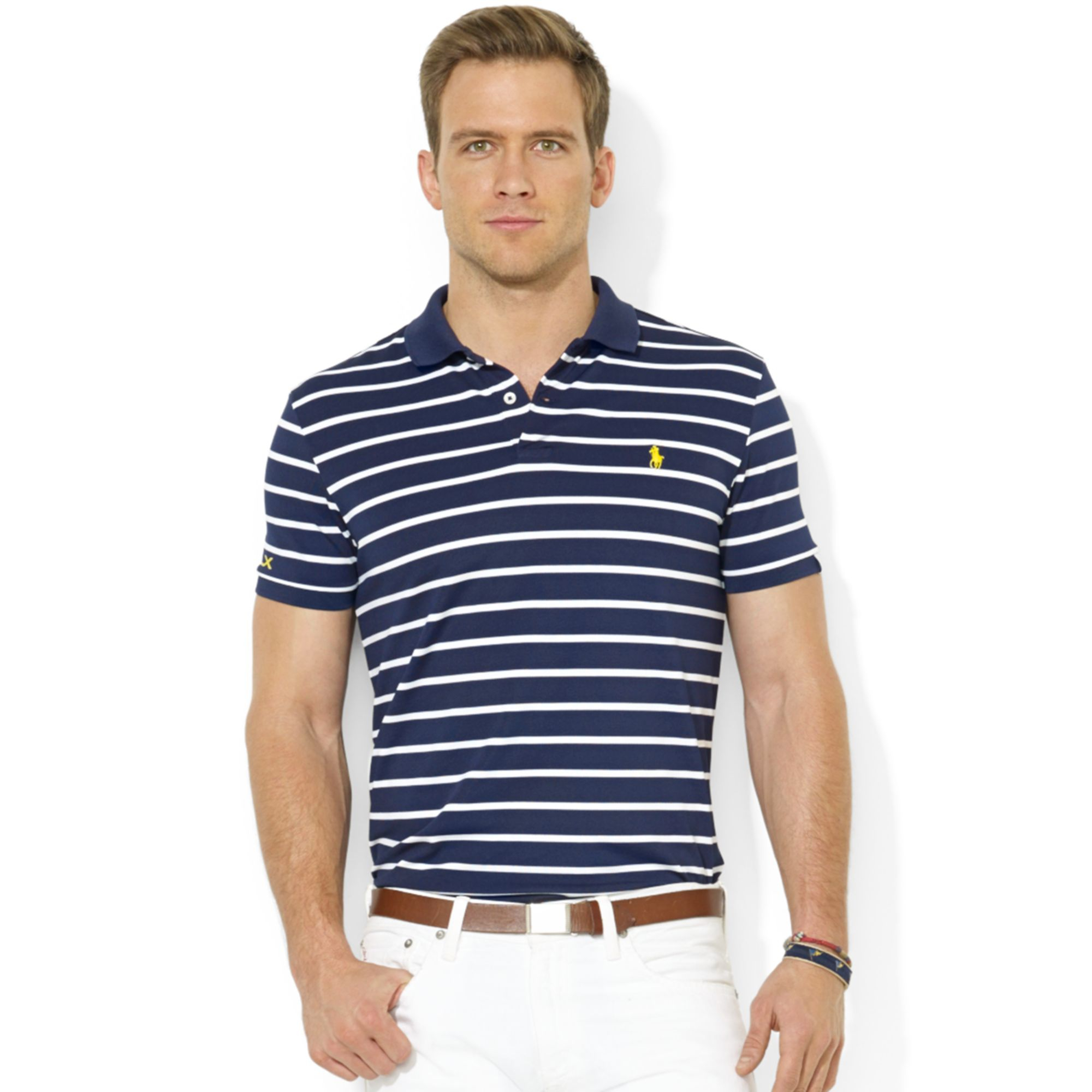 Lyst Ralph Lauren Rlx Striped Stretch Pique Polo Shirt In Blue For Men
