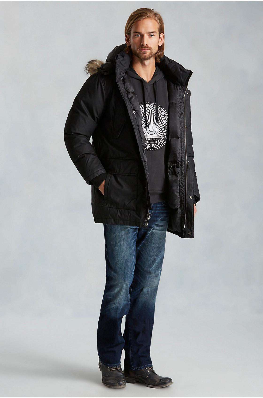 true religion parka mens jacket in black for men lyst. Black Bedroom Furniture Sets. Home Design Ideas