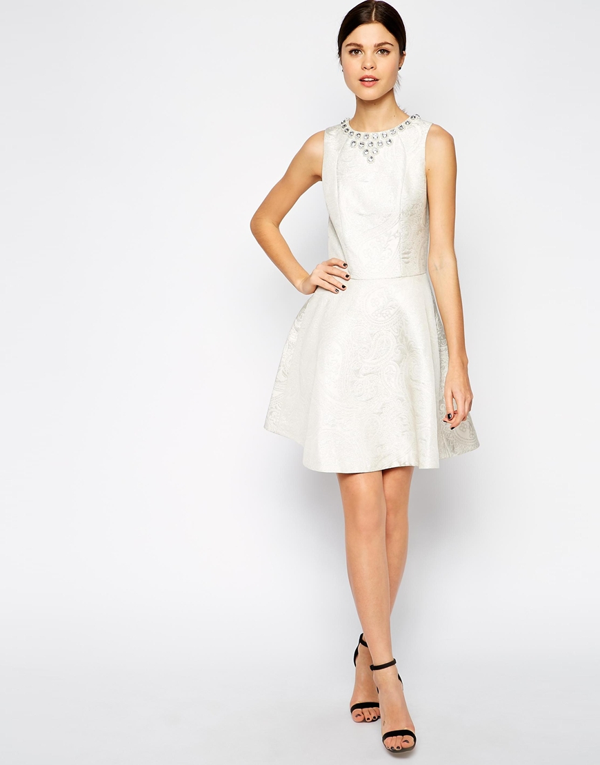 1822a55fb7 Lyst - Ted Baker Jacquard Skater Dress With Embellished Neck in White