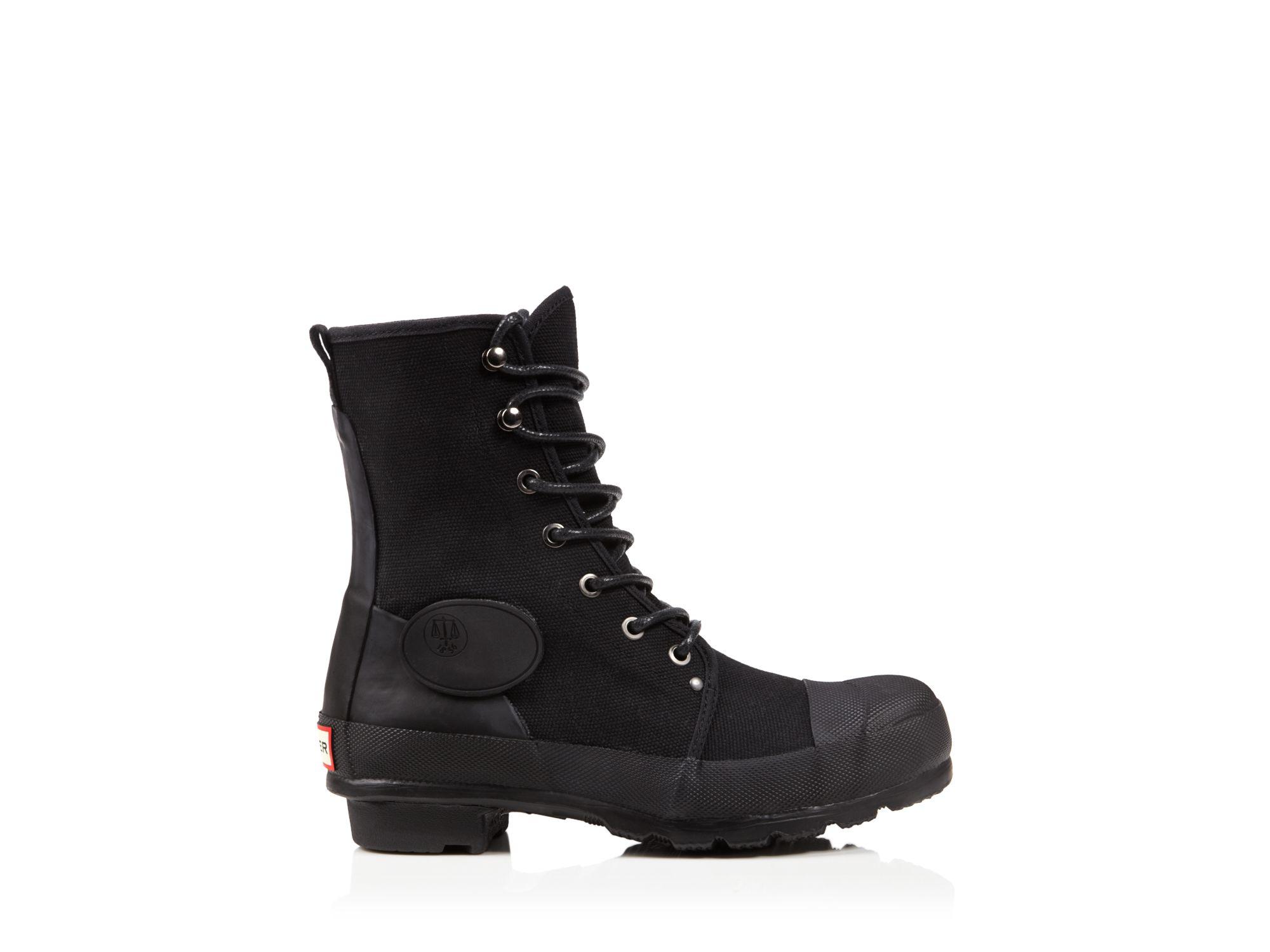 f7b7117560a HUNTER Black Flat Lace Up Combat Boots - Original Canvas Commando