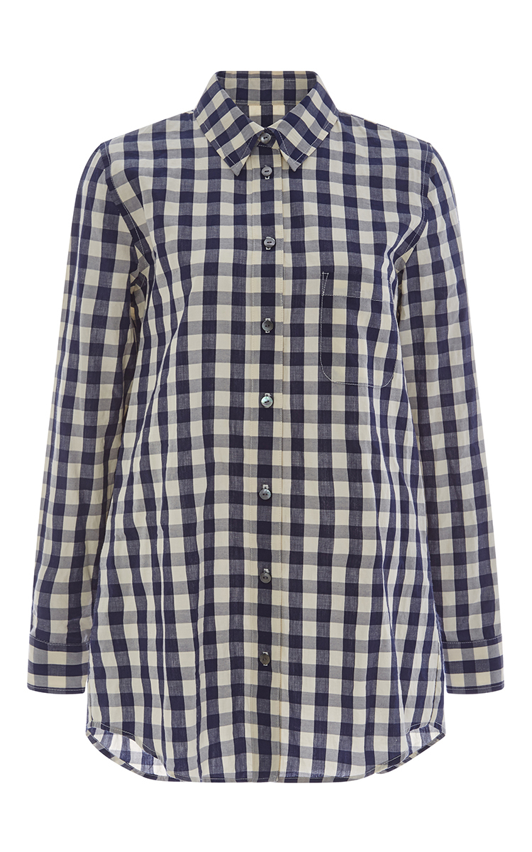 Solid Striped Gingham Boyfriend Shirt Dress In Blue