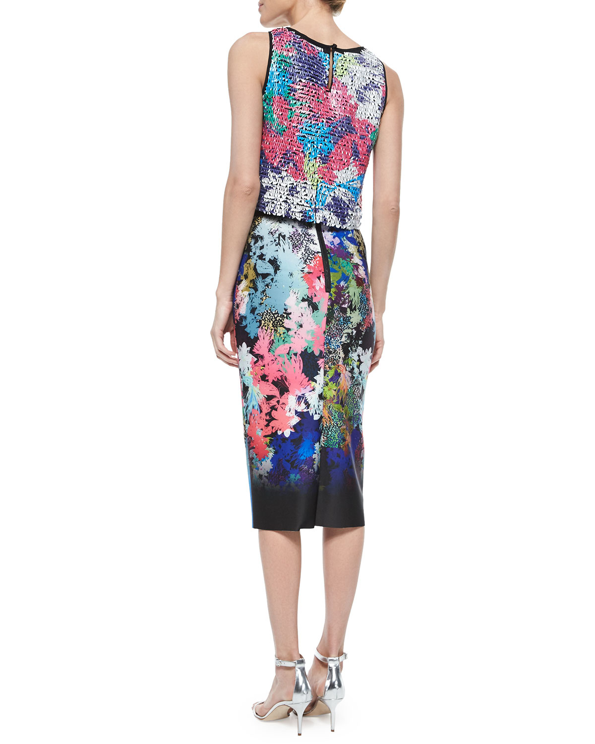 milly ombre floral print midi pencil skirt in blue lyst