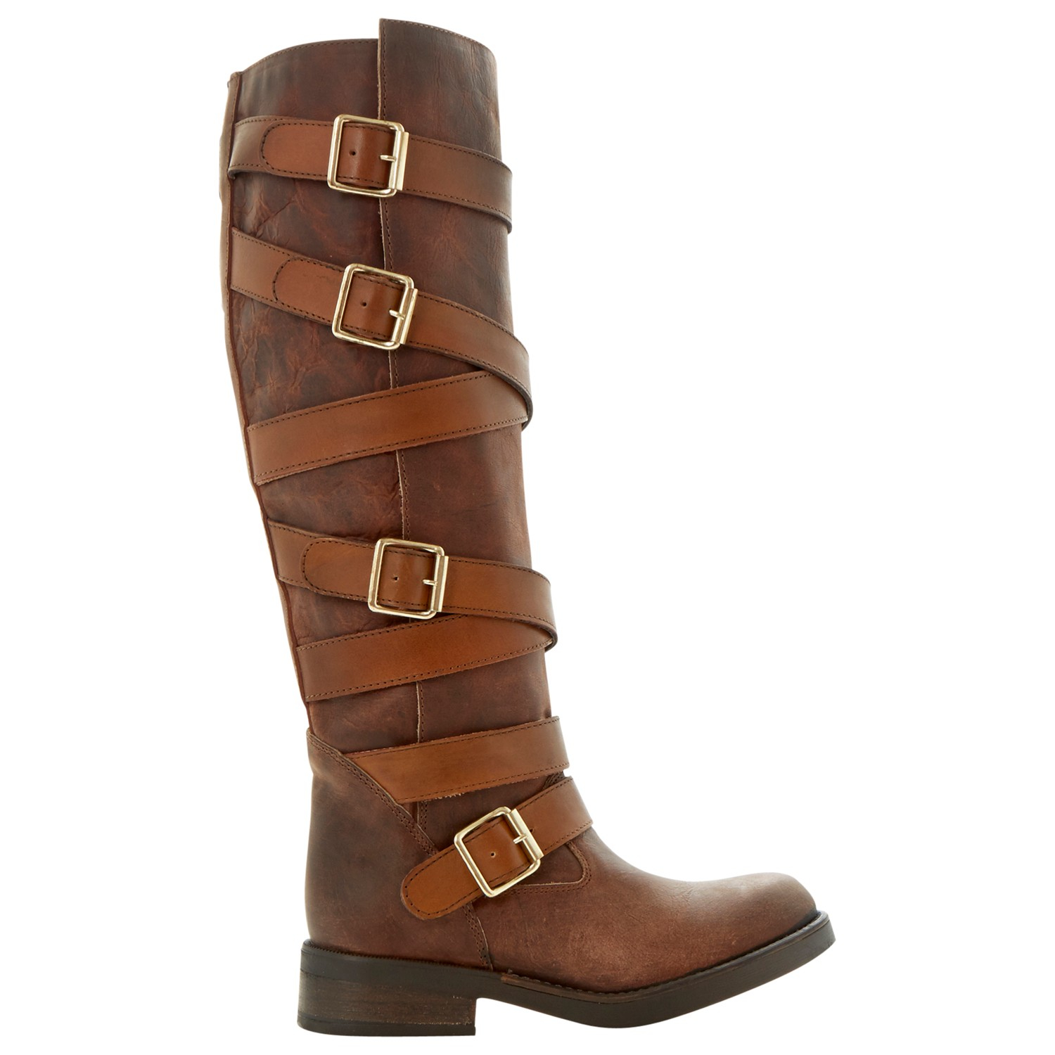 steve madden bryannt leather toe flat boots in brown