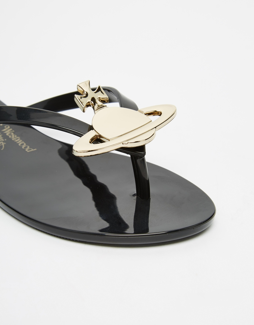 f5c18ba66477b5 Lyst - Melissa + Vivienne Westwood Anglomania Black Orb Flip Flop ...