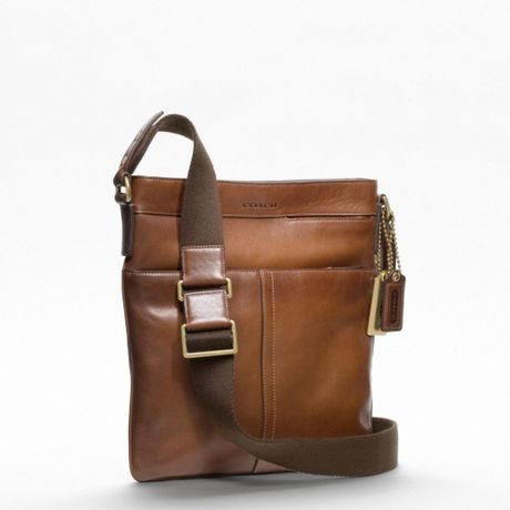 coach bleecker legacy scout bag in brown for men brass