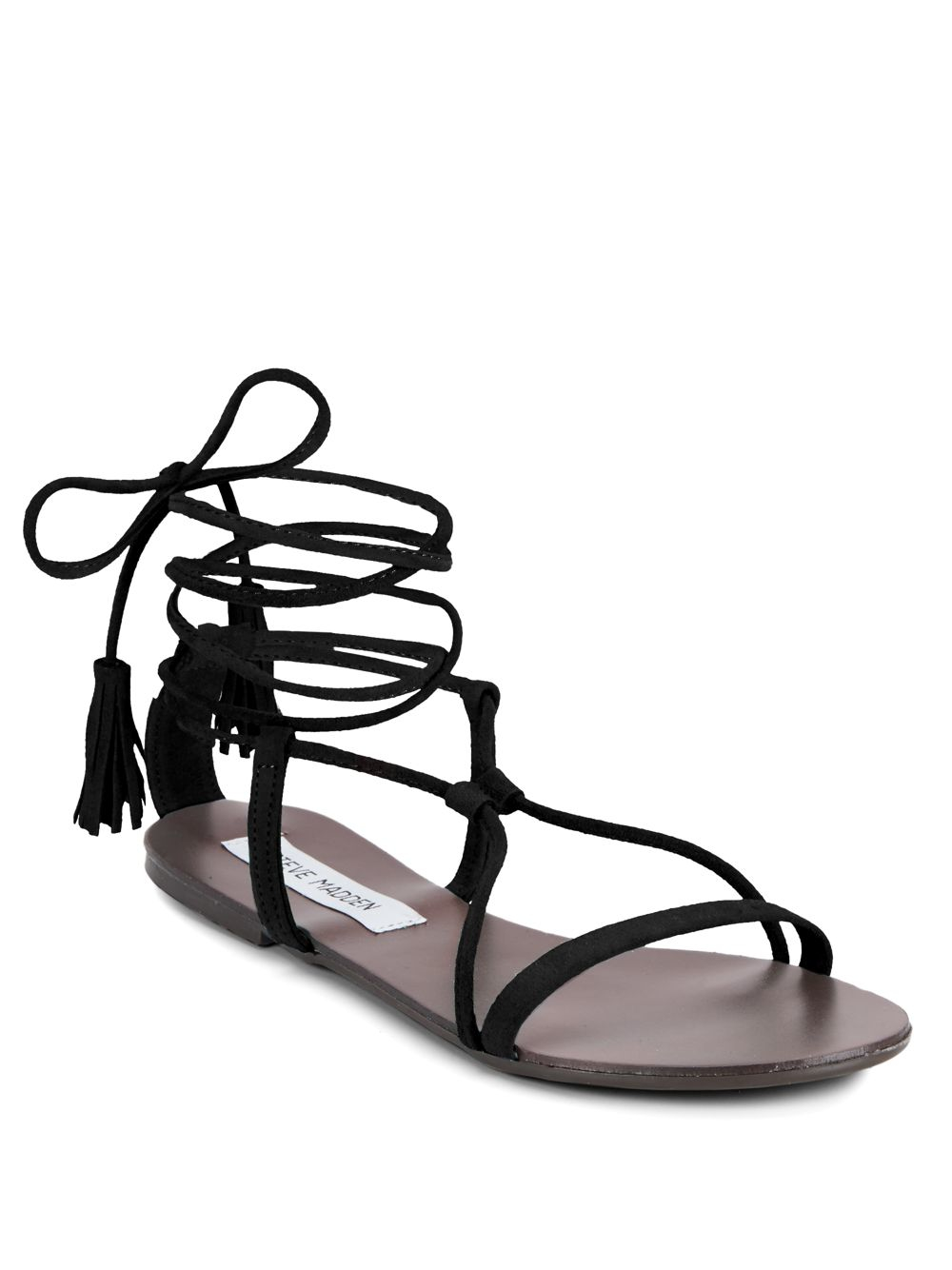0d549a2c63c Lyst - Steve Madden Suede Open-toe Lace-up Sandals in Black