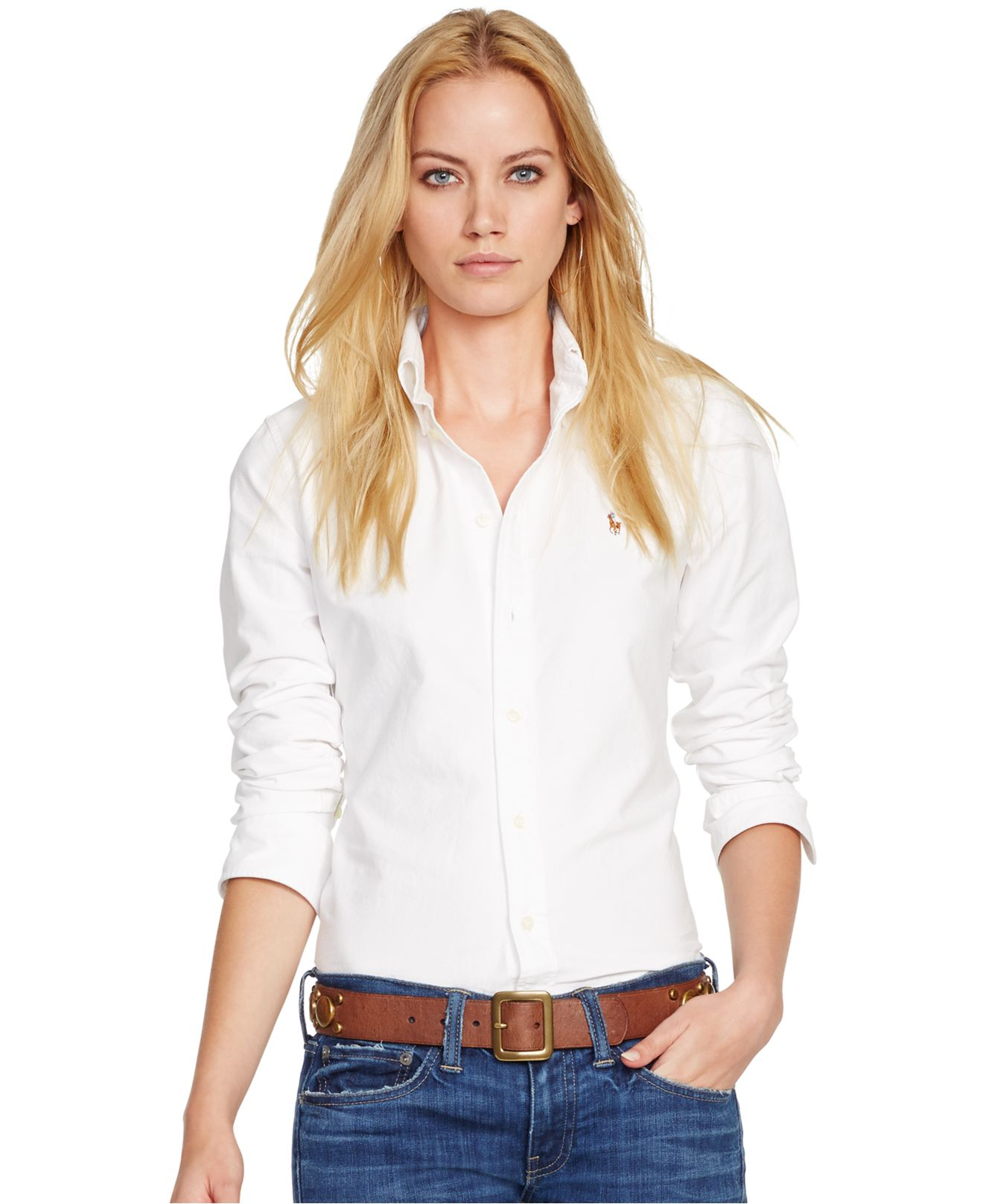 polo ralph lauren long sleeve oxford shirt in white lyst. Black Bedroom Furniture Sets. Home Design Ideas