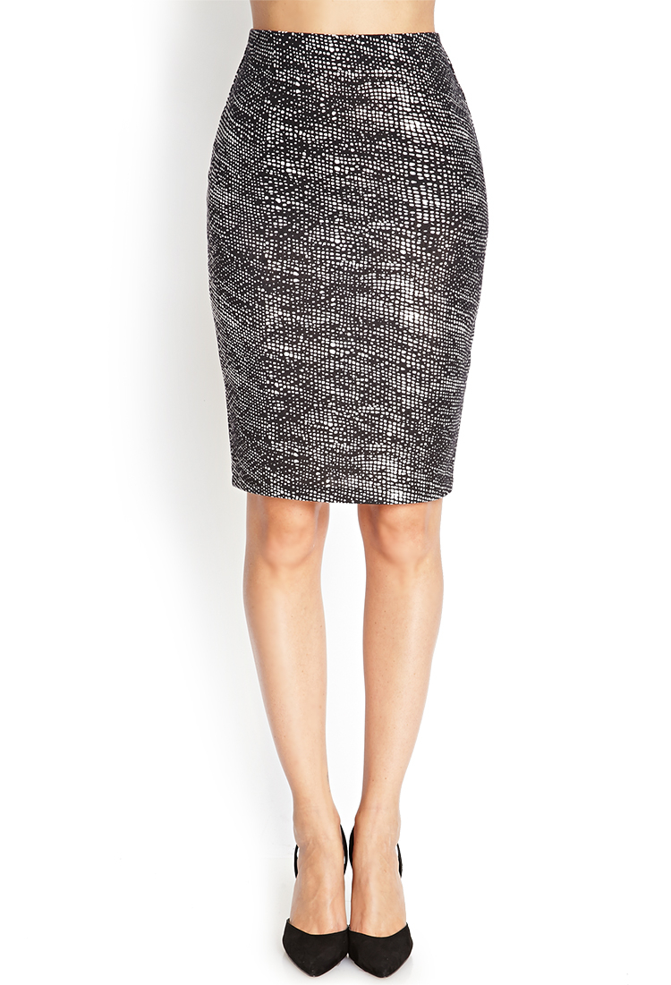 forever 21 abstract dot pencil skirt in black lyst