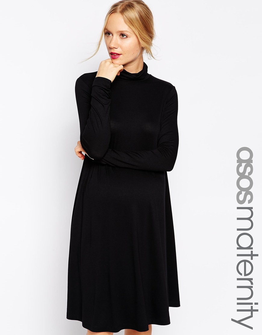 20f8de649e23 Lyst - ASOS Swing Dress With High Neck And Long Sleeves in Black