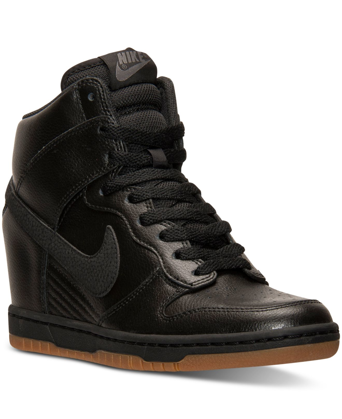 nike dunk sky hi essential leather sneakers in black lyst. Black Bedroom Furniture Sets. Home Design Ideas