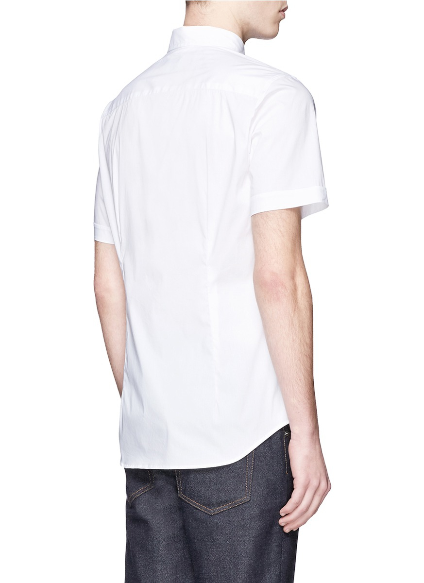 Lyst armani spread collar stretch poplin shirt in white for Men s spread collar shirts