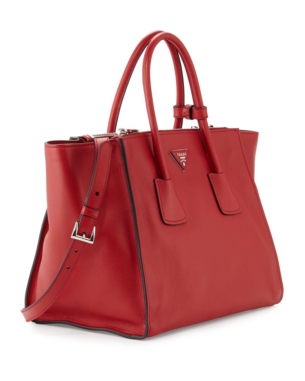 526918a235e1 ... france lyst prada city calf large twin pocket tote bag in red f8458  e6a0c ...