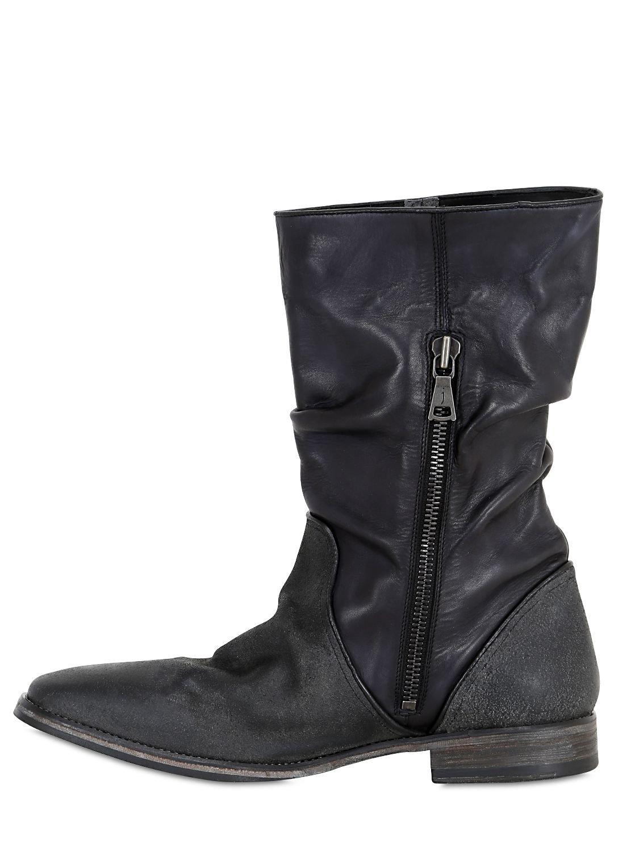 varvatos 30mm wrinkled matte leather boots in black