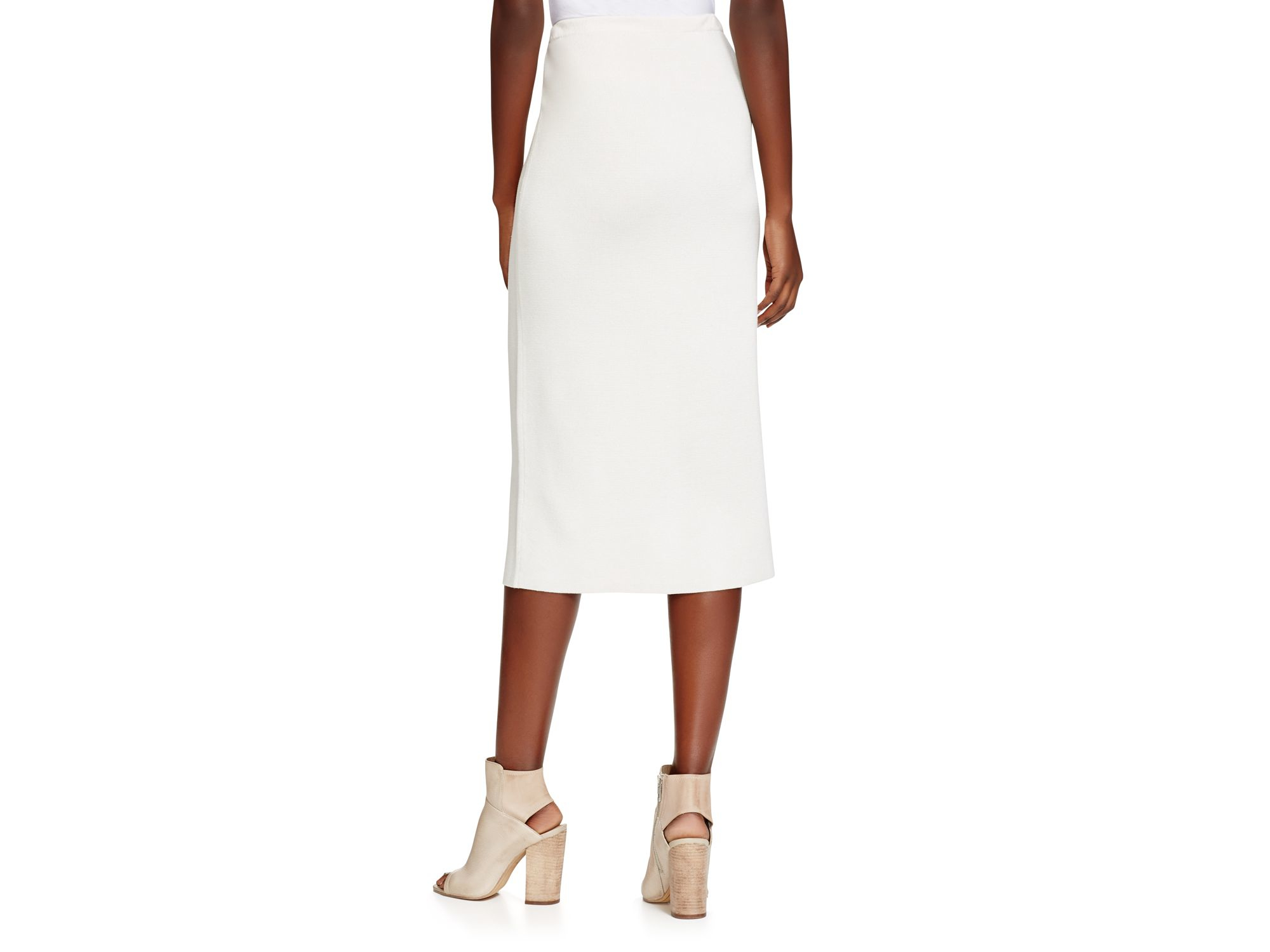eileen fisher knitted pencil skirt in white lyst