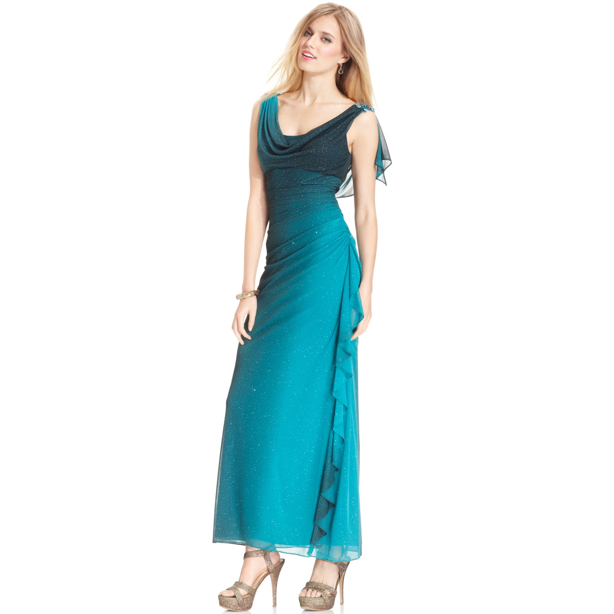 Betsy Amp Adam Draped Ombre Sparkle Gown In Green Black